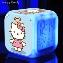 Very Cute Hello Kitty Alarm Clock,Glowing LED Color Change Music Alarm Clock For Kids Toy Multifunction Alarm Clock(China)