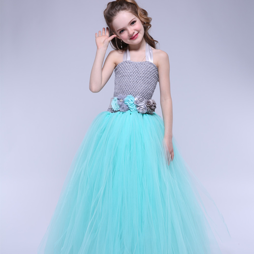 Turquoise Flower Tutu Dress For Girls Party Ball Gown Dress Children Wedding Birthday Pageant Princess Dress Tulle Kids Clothes<br>