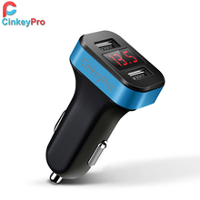 CinkeyPro LED Screen Car Charger For iPhone Samsung 2-Port USB Smart Car-Charger Adapter 2.1A Mobile Phone Adapter Charging