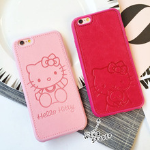 Retail High Quality PU leather Cartoon Hello kitty Cases For iPhone 5 5s 5se 6 6s 6plus 6s plus 7plus Red Pink Hard Shell Covers