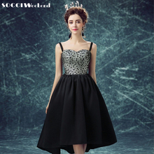 SOCCI WEEKEND Little Black Dresses Evening Dresses Short Front Long Back Round Dot Pattern Prom Dress Formal Wedding Party Gown(China)