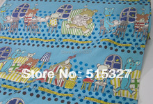 50cm*110cm Japanese KOKKA Quilting Cloth DIY Patchwork Fabric Linen Fabric  Music Night   SkyBlue