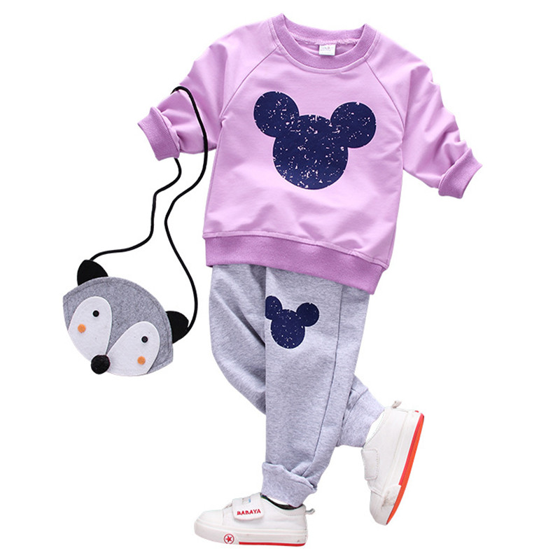 Girl clothing sets children spring Cartoon casual ...