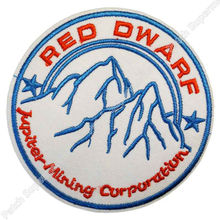 "3.5"" RED DWARF Company JUPITER MINING CORP Logo TV MOVIE Iron On/Sew On Patch Tshirt TRANSFER MOTIF APPLIQUE Rock Punk Badge"