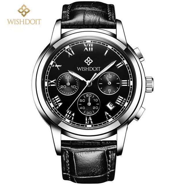 Top Brand relogio masculino high quality Business men Wrist Watch Casual Genuine Leather Waterproof Quartz Watch Clock Male Gift<br>