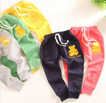 Kid pants 2015 new Brand spring boys long pants bear kids harem pants terry elastic waist trousers Children pants for boys(China)