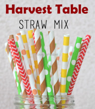 125pcs Mixed Colors Harvest Table Thanksgiving Paper Straws,Brown Lime Green Red Yellow Orange-Chevron Dot Stripe Biodegradable