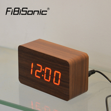 FiBiSonic Wooden Alarm Clocks,Thermometer Wood Wooden LED Digital Voice Table Clock,Mini Digital Clock