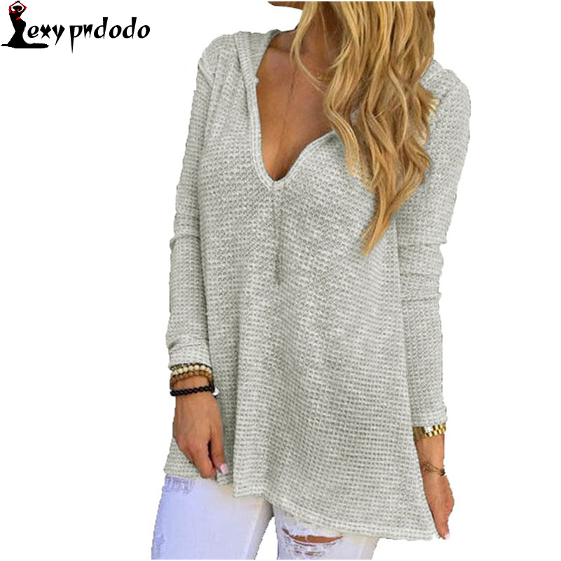 Autumn 2016 Women Loose Knitted Sweater Grey Hooded V-Neck Long Sleeve Knitted Top Sweaters And Pullovers LC25876 harajuku bts