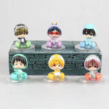 6pcs/set Anime Free! Iwatobi Swim Club Rin Macoto Haruka Nanase Rei PVC ACTION Figure Resin Collection Model Toy Gift Doll