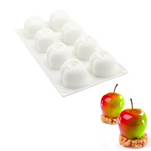 DIY 8 Cavities Apple Shape 3D Silicone Molds For Cake Mousse Pastry Baking Tools(China)