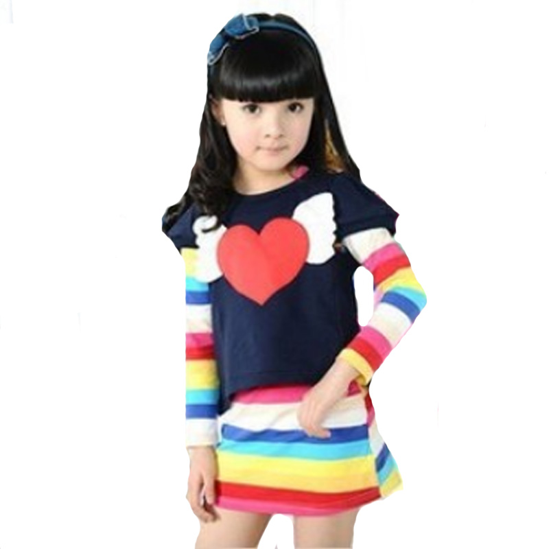 autumn girl clothing sets 2017 new fashion wing heart short sleeve top+stripe long sleeve dress cute kids baby girls clothes set<br><br>Aliexpress