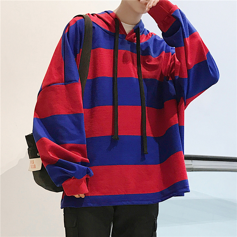2018 Spring Newest Men's Fashion Stripe Pattern Spelling Color Even Cap Joker Pullovers Loose Casual Hoodies Sweatshirts M-XL