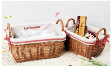 Natural Handmade Woven Wicker French Market Basket With Linen Decorative Wicker Small Organizer()