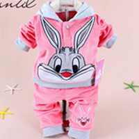 manufacturer Clothing Sets Hello kitt 2017 Spring Baby Set Cartoon Rabbit Velvet Twinset Long Sleeve Hoodie And Pant Children Cl(China)