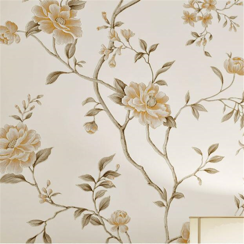 Beibehang European style bronzing large flower wallpaper bedroom living room home decor background 3d wallpaper papel de parede<br>