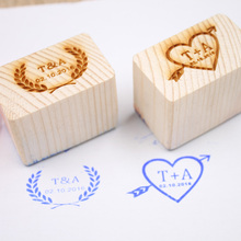 Wedding Gifts Personalized Wood Stamp with Your Initials&Date Wedding Invitation Customized Wooden Rubber Stamp Free Shipping(China)