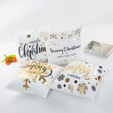 1Pcs 45*45cm Bronzing Christmas Pattern Golden Throw Pillow Cushion Cover Home Decoration Bed Decor Decorative Pillowcase 40498