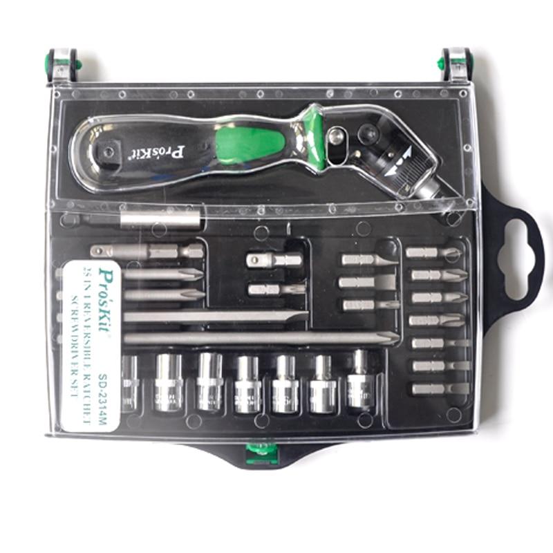 25 In 1 Reversible Ratchet Magnetic Screwdriver W/Bits &amp; Sockets Set Screwdriver Set SD-2314M<br>