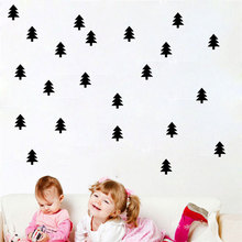 Nordic Style Nursery Decoration Removable Vinyl Christmas Tree Wall Sticker Art Decal For Kids Baby Room Black White Pink(China)