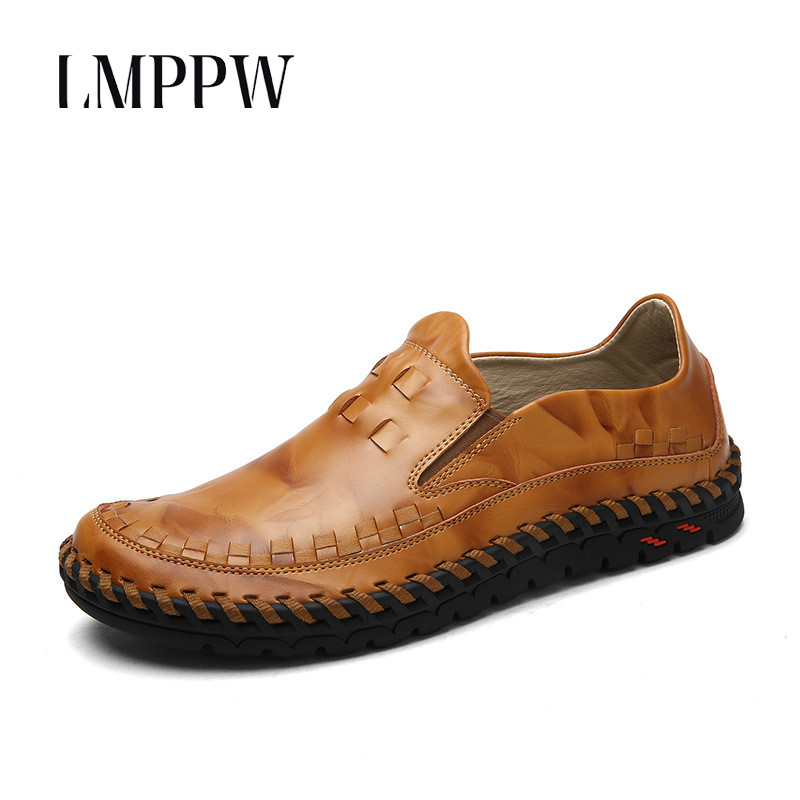 Luxury Brand Handmade Boat Shoes Men Casual Loafers Genuine Leather Flats Shoes Fashion Men Moccasin Chaussure Homme Balck Brown<br>