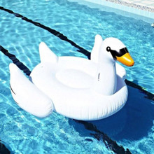 1.5M 60 Inch PVC White Giant Rideable Swan Inflatable Float Toy Pool Swim Ring Holiday Water Lounge Fun Pool Toys Swimming Pool
