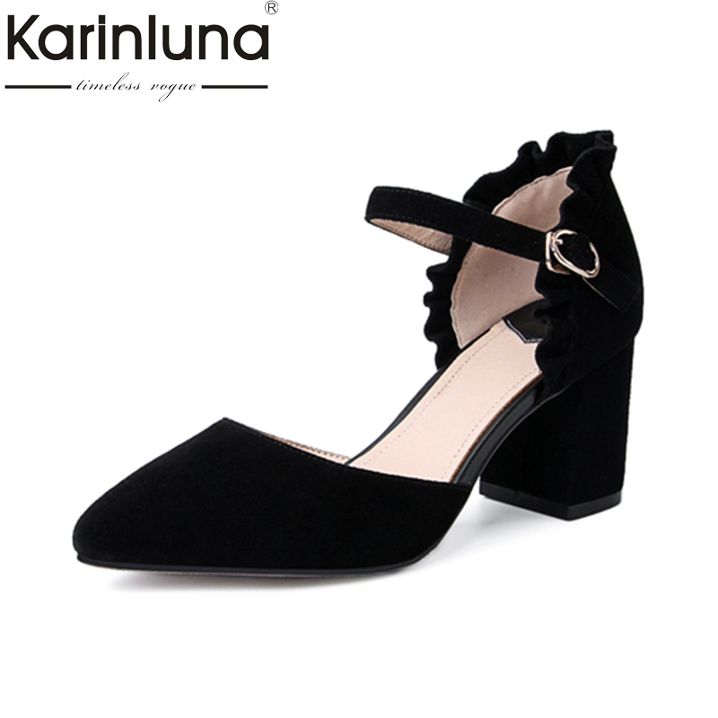 KarinLuna Kid Suede 2018 Fashion Big Size 33-42 Women Pumps Mary Jane Buckle Strap Chunky Heel Shoes Fashion Summer Black Pumps<br>