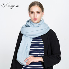 Voneyesa European & American Solid Color Scarf Shawl Extra Large size Winter Pashmina Knitted Scarves Tassel Warm Hjiab ROM1724(China)
