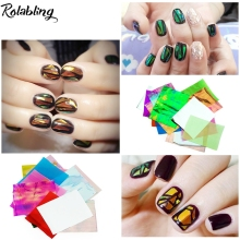 21pcs/set Glitter Nail Art Foils Paper Candy Colors Broken Glass Nail Sticker Design Beauty Decal Decorations(China)