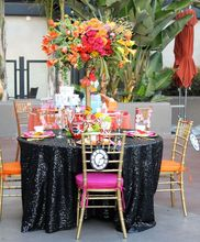 ShinyBeauty  Sequin Tablecloth 120 Round Black - Lots of colours Customize available