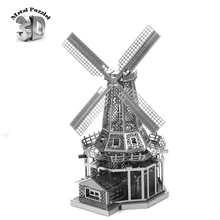 3D Metal Puzzles Miniature Model DIY Jigsaws Building Block Silver World-famous Buildings Intelligence Toys Dutch Windmill