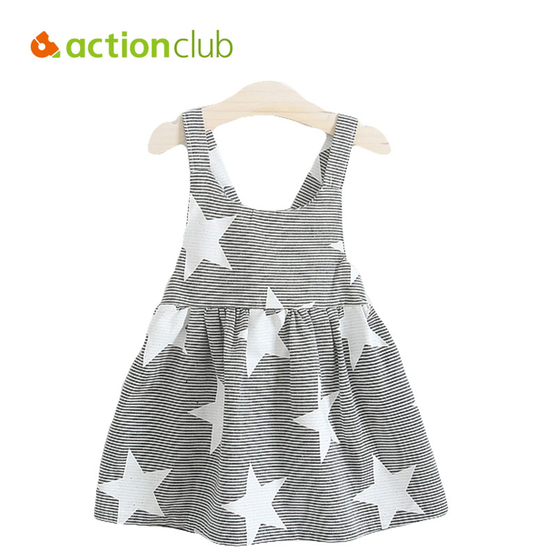 Actionclub 2016 New Summer Girls Dress Striped Strap Dress Girls Fashion Party Dress Star Pattern Childrens Beach Clothing<br><br>Aliexpress