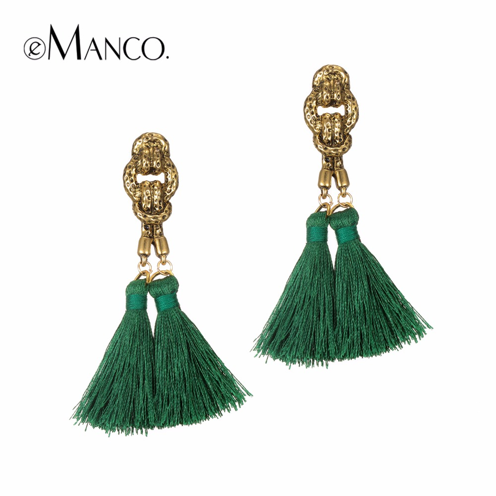 eManco bohemian tassel earrings hanging drops for women statement earrings green vintage dangle earring jewelry 8 colors(China (Mainland))