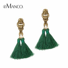 eManco bohemian tassel earrings hanging drops for women statement earrings green vintage dangle earring jewelry 8 colors(China)