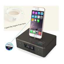 Black All In One Gadgets Portable Alarm Clock FM Radio Charging Docking Phone Station Speaker for iPod iPhone Mp3 Player