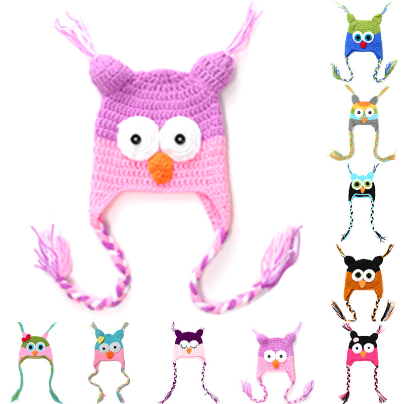 Cute Cartoon Infant Toddler Handmade Knitted Crochet Baby Owl Hat with Ear Flap Baby Soft Bonnet Photography Props Animal Caps(China)