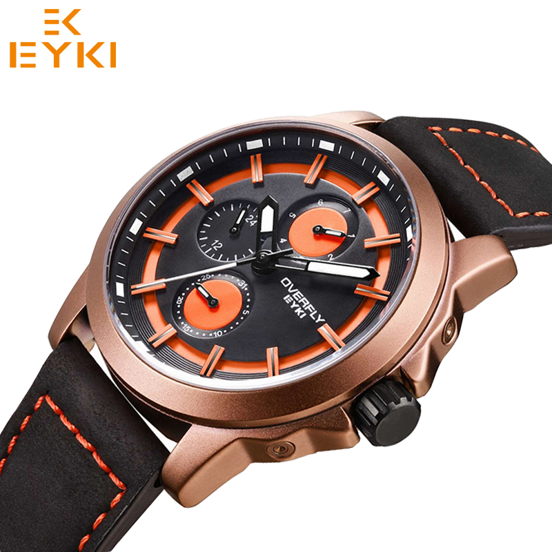 EYKI men luxury brand luminous day date calendar quartz watches man waterproof military sport wristwatches Relogio Masculino<br>