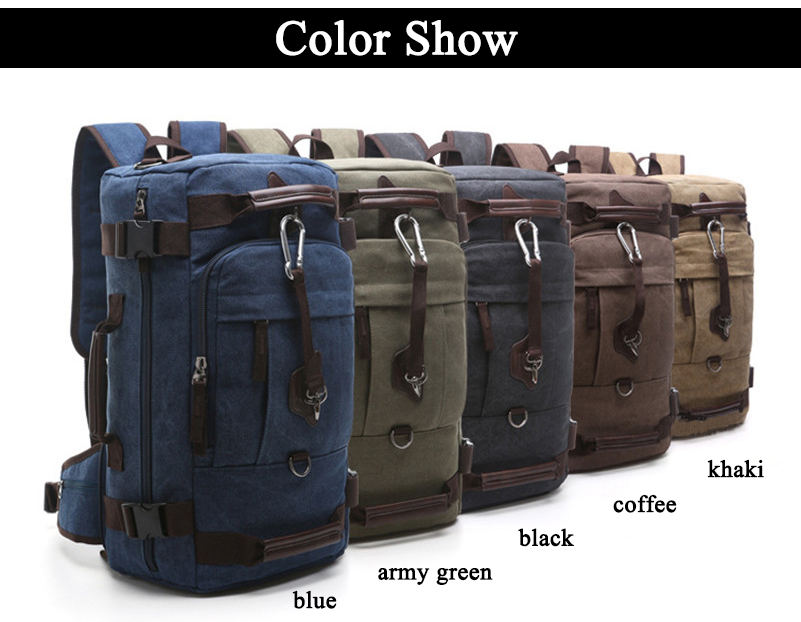 a rucksack in five different colors