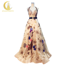 JIALINZEYI Real Sample Image Rhine Sexy Elie Saab Halter Champange Sequins Fashion Sexy Half Backless Fashion Evening Dresses(China)