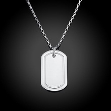 "Lostpiece 2017 New Arrival Fashion Men's 925 Sterling Silver endant Necklace Square Dog Tag Come With 20"" Silver Chain LSPN273(China)"