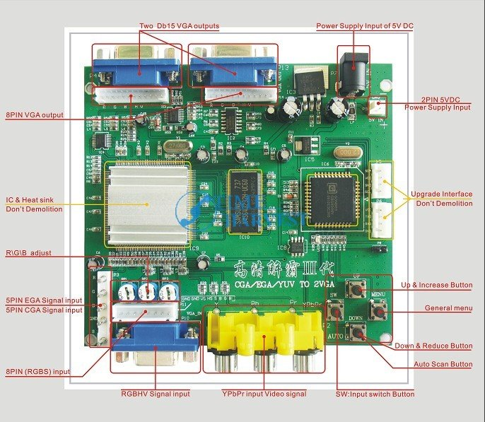 2 Pcs of RGB TO VGA / CGA TO VGA converter board/2 VGA output-game accessory for arcade game machine/LCD game machine<br>