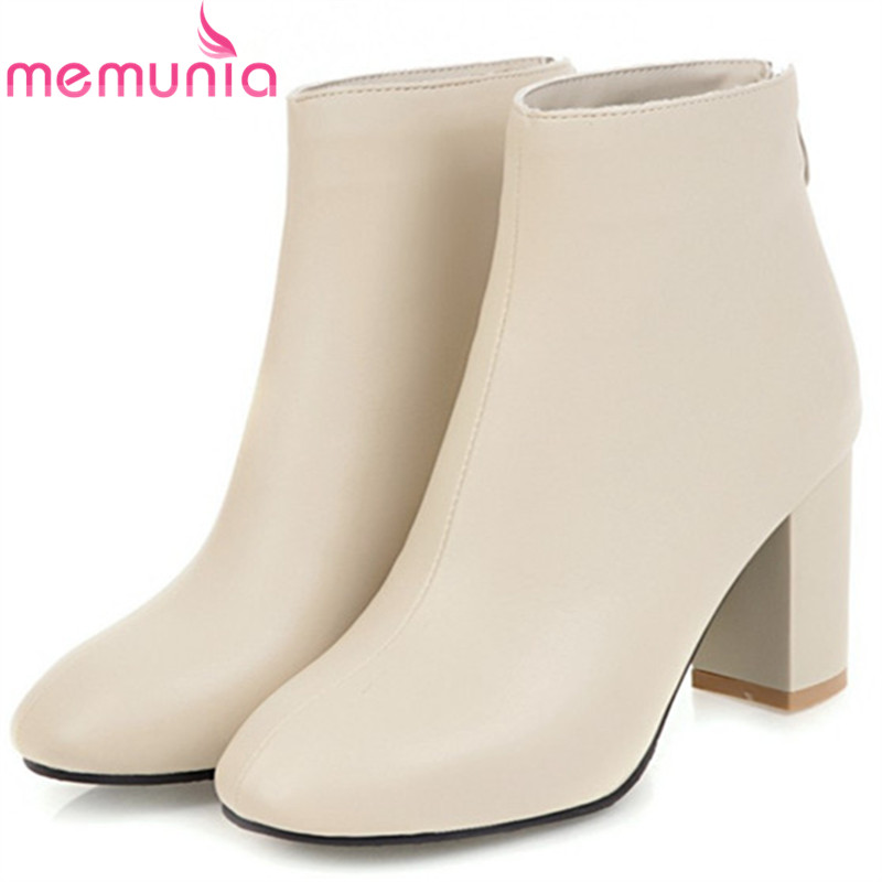 MEMUNIA Square heels shoes woman fashion boots female in spring autumn womens boots high heels shoes ankle boots size 34-45<br>