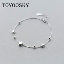 Bracelet 925 Sterling Silver Single Box Chain Matte Stars Bracelets For Women Fashion Lady Hypoallergenic Sterling-silver-jewelr(China)