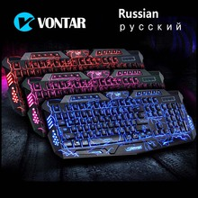 VONTAR M200 Russian English Gaming Keyboard 3 Colors Backlight USB Wired Keyboard  with Adjustable Brightness for Computer