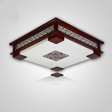Lighting rectangular Chinese style Wooden ceiling lamps LED bedroom living room lights sheepskin lamp ceiling lamps ZAG
