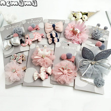 2-3pcs/set Girls' Hairclips Set Mix Style Lace Crown Cotton Floral Hairbow with Clips Handmade Children's Boutique Headdress(China)