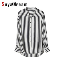 Women Striped Blouse 100% REAL SILK chiffon Fashion long sleeve blouse shirt Blusas femininas 2018 Spring White black stripe(China)