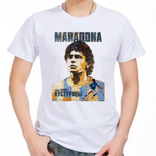 Men's Short sleeve t-shirt Diego Armando Maradona Argentina Napoli hand of God la mano de Dios 100% cotton tshirt jersey fan(China)