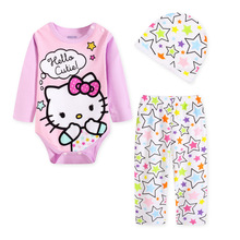 Sweet Hello Kitty baby girls romper 3pcs romper+pants+hat cotton newborn baby girl Jumpsuit for 4-24 months