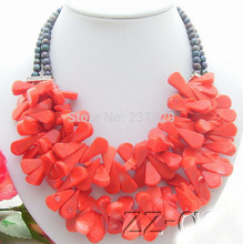 HOT## Wholesale price FREE SHIPPING ^^^^N1105049 2Strds Pearl&Coral Necklace